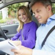Girl Having Driving Lesson — Stock Photo