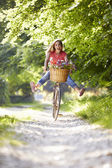 Woman On Cycle Ride In Countryside — Stock Photo