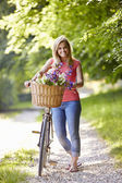 Woman On Cycle Ride — Stock Photo