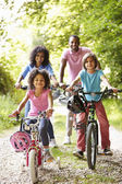 Family On Cycle Ride In Countryside — Foto Stock