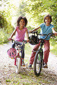 Two Children On Cycle Ride — Stock Photo