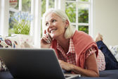 Woman Ordering Item On Telephone — Stock Photo