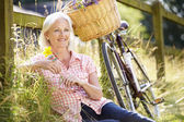 Woman Relaxing On Country Cycle Ride — Stock Photo
