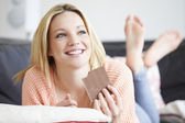 Girl Eating Bar Of Chocolate — Stock Photo