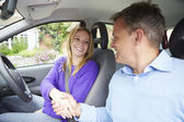 Girl Passing Driving Test — Stock Photo