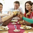 Friends Sitting Around Table Having Dinner — Stock Photo #48301345