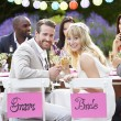 Bride And Groom Enjoying Meal — Stock Photo #48301723