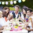 Friends Enjoying Outdoor Dinner Party — Stock Photo #48301817