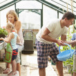 Family Working Together In Greenhouse — Stock Photo #48301973