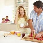 Parents Preparing Family Breakfast — Stock Photo #48302051