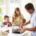 Father Preparing Family Breakfast — Stock Photo #48302129