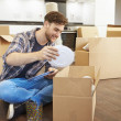 Man Moving Into New Home — Stock Photo