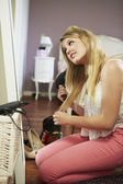 Teenage Girl Drying Hair — Stock Photo