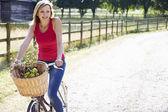 Attractive Woman Riding Bike — Stock Photo
