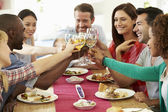 Friends Sitting Around Table Having Dinner — Stock Photo