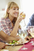 Woman Relaxing At Dinner Party — Foto de Stock