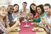 Group Of Friends Having Dinner Party — Stock Photo