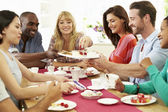 Friends Having Dinner Party — Stockfoto