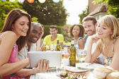 Friends Having Barbeque At Home — Stock Photo