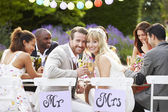 Bride And Groom Enjoying Meal — Stock Photo