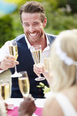 Friends Proposing Champagne Toast — Stock Photo