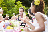 Friends Enjoying Outdoor Dinner Party — Стоковое фото