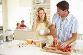 Parents Preparing Family Breakfast — Stock Photo