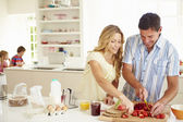 Parents Preparing Family Breakfast — Stock Photo