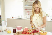 Woman Preparing Healthy Breakfast — Stock Photo