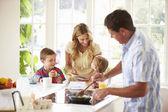 Father Preparing Family Breakfast — Stock Photo