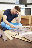 Man Putting Together Assembly Furniture — Stock Photo