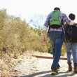 Rear View Of Father And Son Hiking In Countryside — Stock Photo #48458975