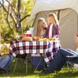 Family Enjoying Camping Holiday In Countryside — Stock Photo #48459161