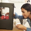 Female Architect Using 3D Printer In Office — Stock Photo #48459549