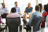 Multi-Cultural Office Staff Sitting Having Meeting Together — Stock Photo