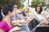 Group Of University Students Working On Project Outdoors — Stock Photo