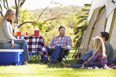 Family Enjoying Camping Holiday In Countryside — Stock Photo