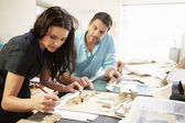 Two Architects Making Models In Office Together — Stock Photo