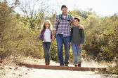 Father And Children Hiking In Countryside Wearing Backpacks — Stockfoto