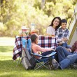 Family Enjoying Camping Holiday In Countryside — Stock Photo #48460489
