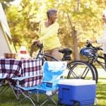Two Mature Women Riding Bikes — Stock Photo #48460831