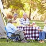 Two Senior Couples Enjoying Camping Holiday — Stock Photo #48461585