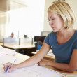 Female Architect Studying Plans In Office — Stock Photo #48463049