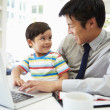 Busy Father Working From Home — Stock Photo #48463577