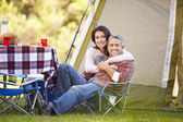 Couple Enjoying Camping Holiday In Countryside — Foto Stock