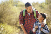 Father And Son Hiking In Countryside Wearing Backpacks — Foto Stock