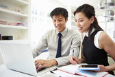 Asian Couple Working From Home — Stock Photo