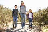 Mãe e filhos que caminham em campo vestindo mochilas — Foto Stock