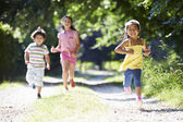 Three Asian Children Enjoying Walk — Foto Stock