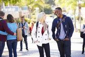 Students Walking Outdoors On University Campus — Stock Photo